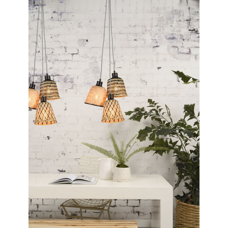 KaliMANTAN lámpara de suspensión de bambú 3 pantallas (natural, negro) - image 45246