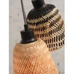 KALIMANTAN Bambus Hängeleuchte 3 Lampenschirme (natürlich, schwarz)