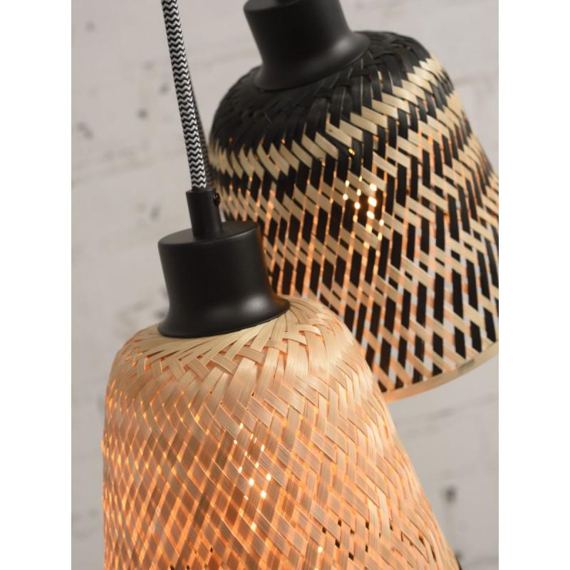 KaliMANTAN lámpara de suspensión de bambú 3 pantallas (natural, negro) - image 45249