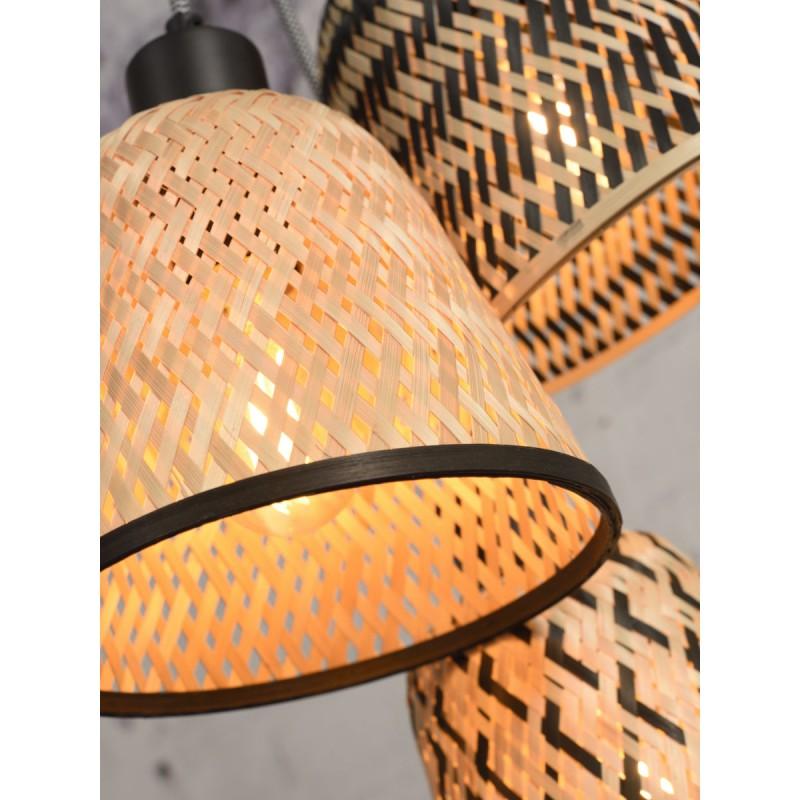 KaliMANTAN lámpara de suspensión de bambú 3 pantallas (natural, negro) - image 45250