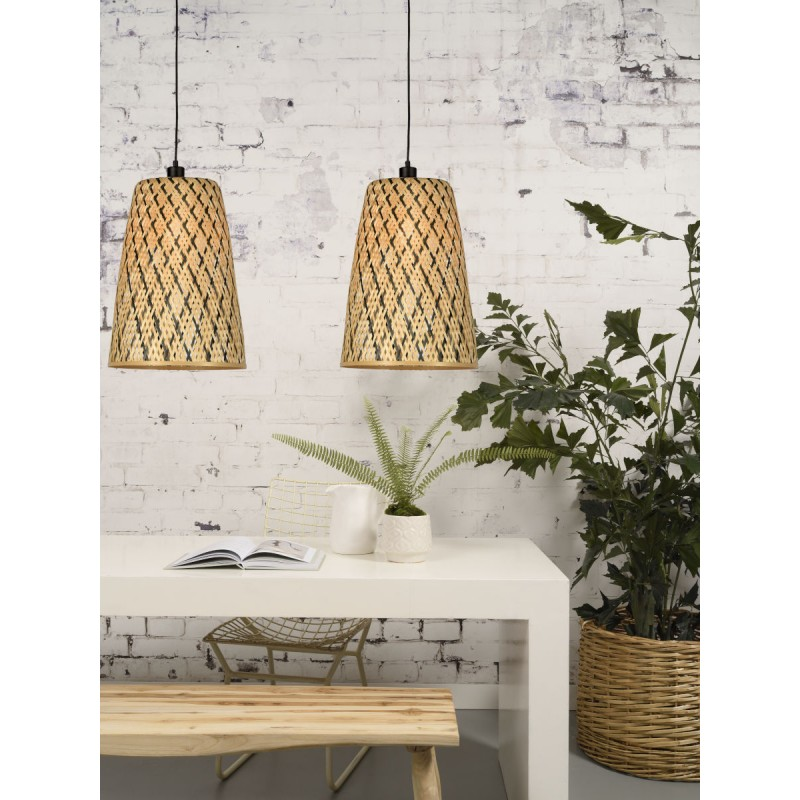 KALIMANTAN H48 bamboo suspension lamp (natural, black) - image 45257