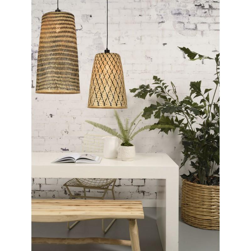 KALIMANTAN H66 bamboo suspension lamp (natural, black) - image 45270