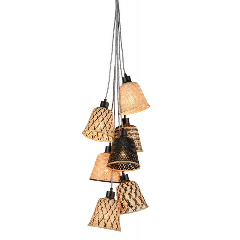 KaliMANTAN 7 Bambus Hängelampe Lampenschirm (natürlich, schwarz)