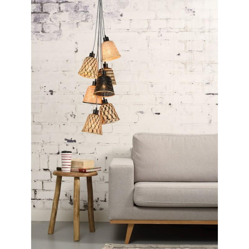 Lampe à suspension en bambou KALIMANTAN 7 abat-jours (naturel, noir) - image 45280