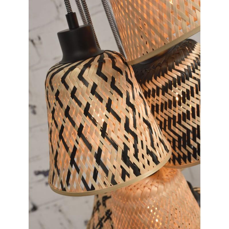 Lampe à suspension en bambou KALIMANTAN 7 abat-jours (naturel, noir) - image 45284