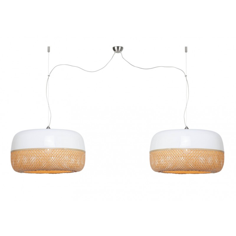Lámpara de suspensión plana de bambú MEKONG (60 cm) 2 pantallas (blanco, natural)
