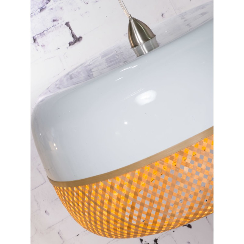 Lampe à suspension en bambou MEKONG plat (Ø 60 cm) 2 abat-jours (blanc, naturel) - image 45361