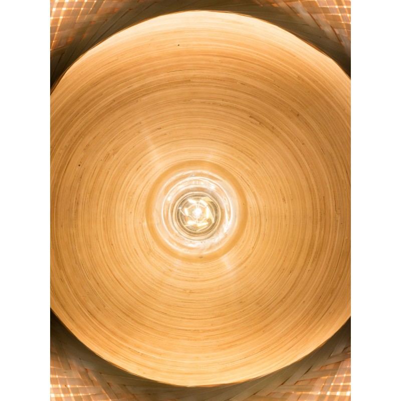 MEKONG flache Bambus Hängeleuchte (60 cm) 2 Lampenschirme (weiß, natur) - image 45362