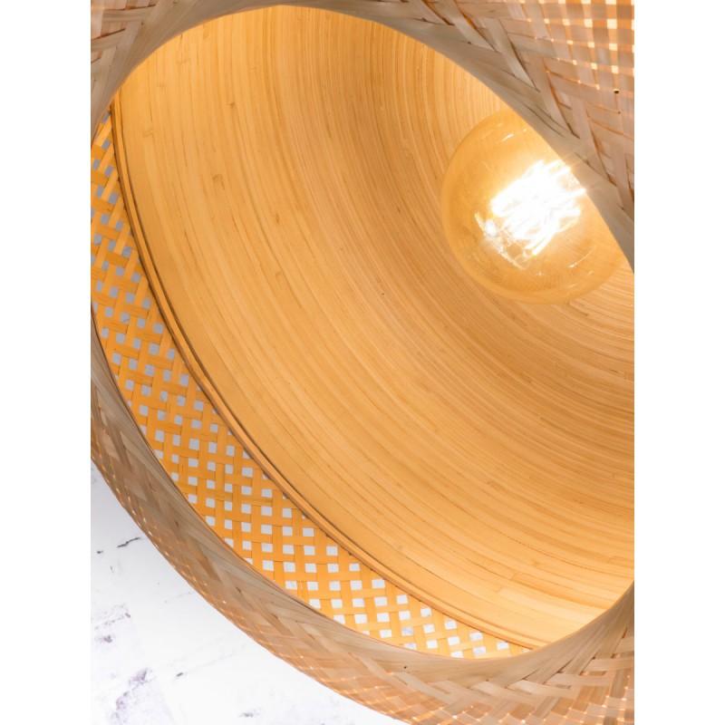 Lampe à suspension en bambou MEKONG plat (Ø 60 cm) 2 abat-jours (blanc, naturel) - image 45363