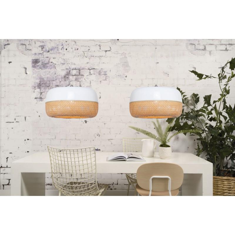 Lampe à suspension en bambou MEKONG plat (Ø 60 cm) 2 abat-jours (blanc, naturel) - image 45365