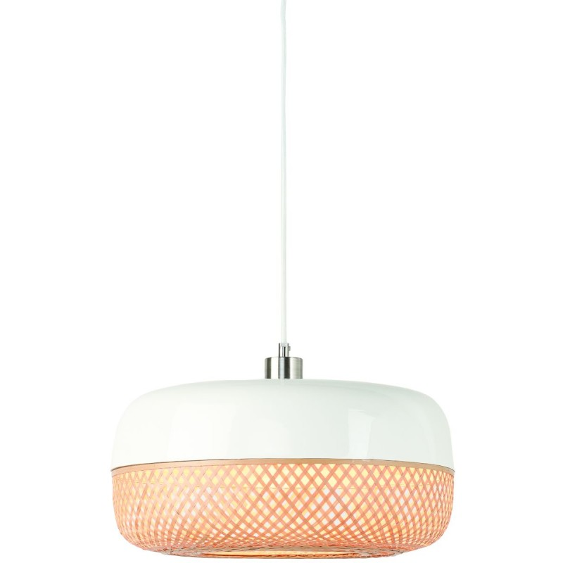 MEKONG flat bamboo suspension lamp (40 cm) (white, natural)