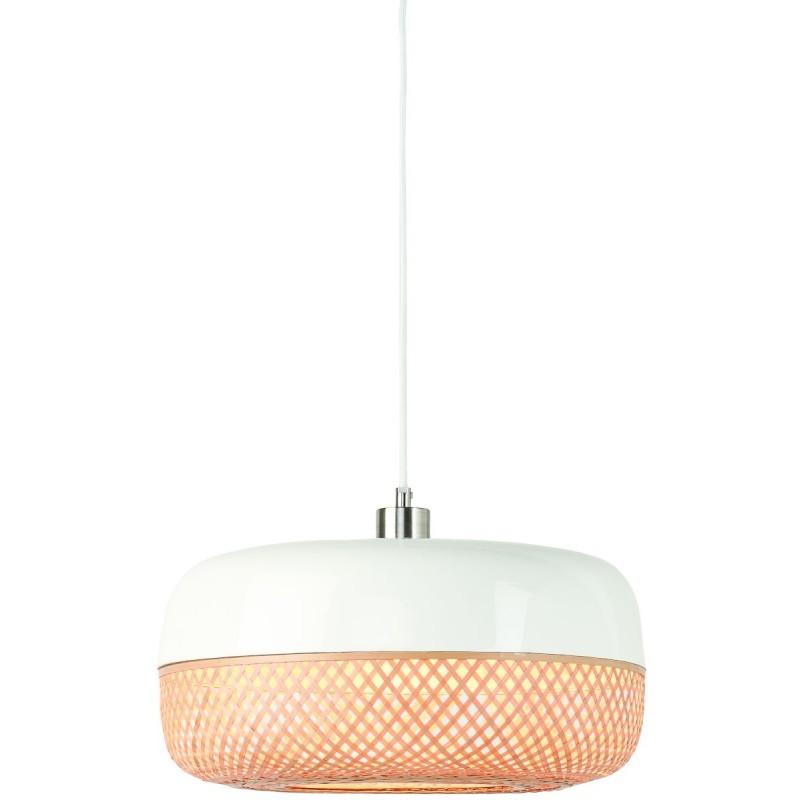Lampada a sospensione MEKONG di bambù piatto (40 cm) (bianca, naturale) - image 45366