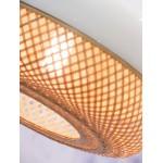 Lampada a sospensione MEKONG di bambù piatto (40 cm) (bianca, naturale)