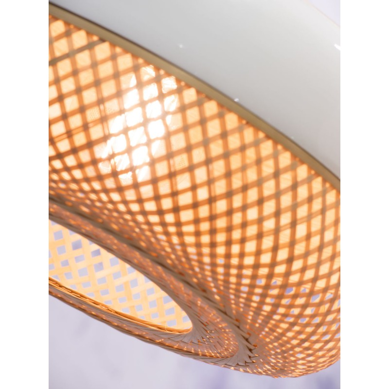 MEKONG flat bamboo suspension lamp (40 cm) (white, natural) - image 45367