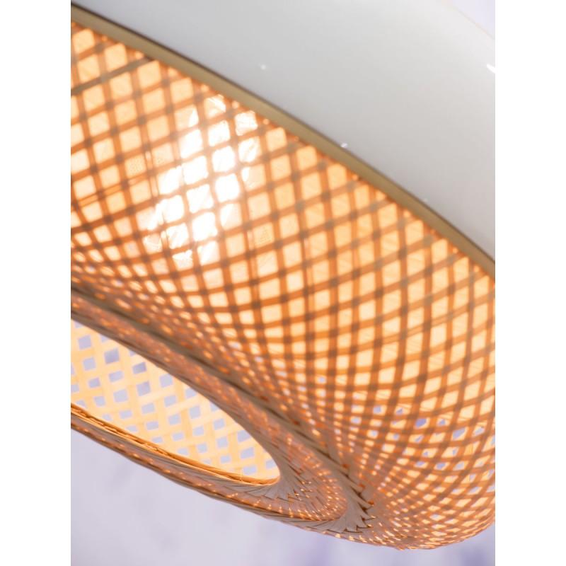 Lampada a sospensione MEKONG di bambù piatto (40 cm) (bianca, naturale) - image 45367