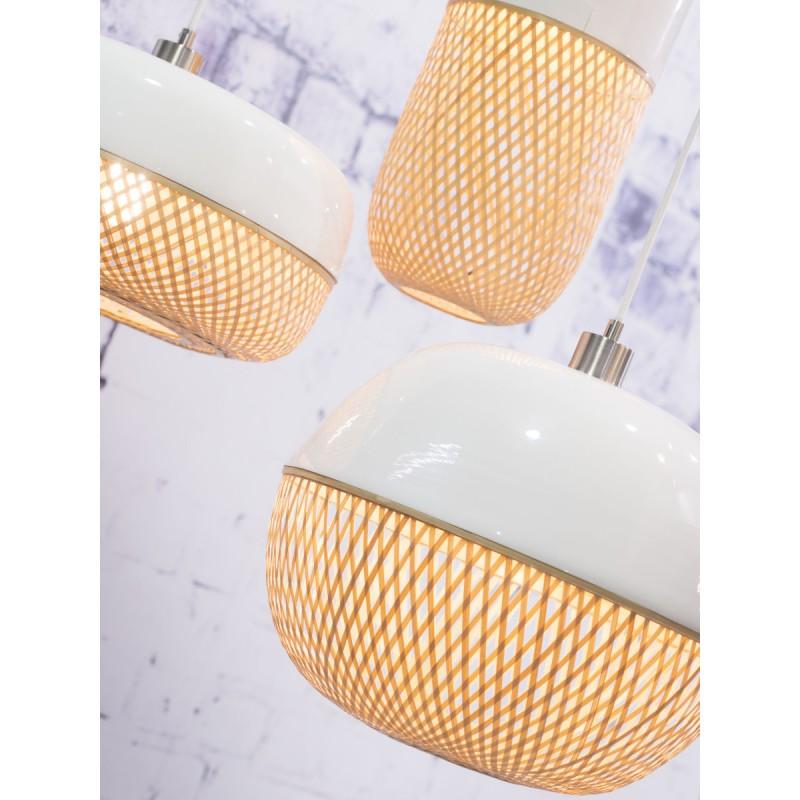 Lampada a sospensione MEKONG di bambù piatto (40 cm) (bianca, naturale) - image 45368