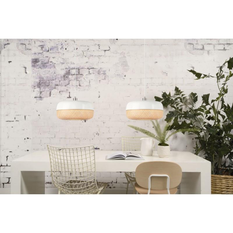 Lampada a sospensione MEKONG di bambù piatto (40 cm) (bianca, naturale) - image 45372