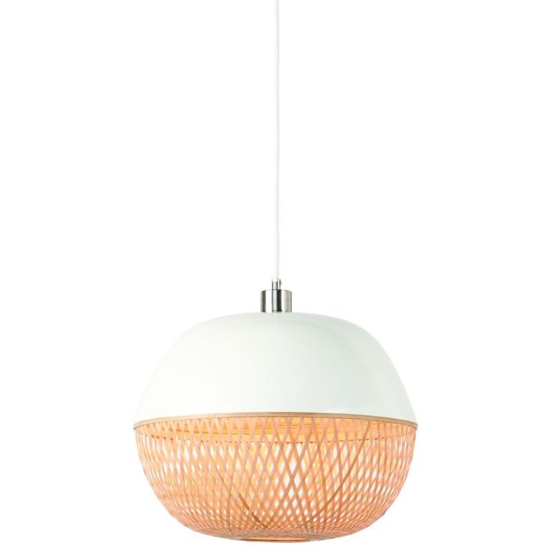 Lampada a sospensione in bambù rotondo MEKONG (40 cm) (bianca, naturale) - image 45383