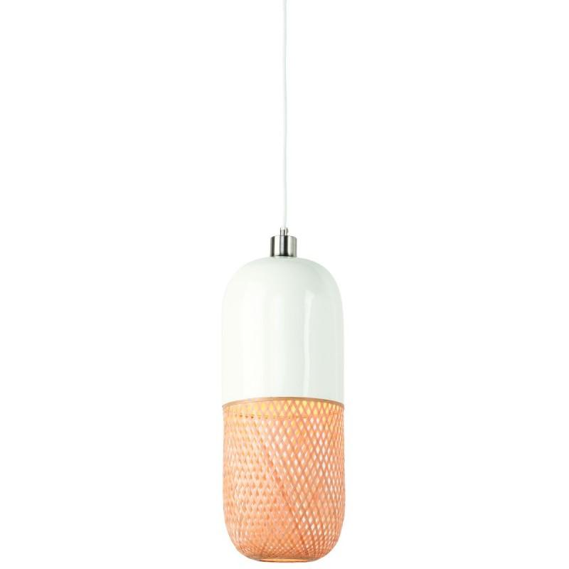 Lámpara de suspensión de bambú ovalada MEKONG (40 cm) (blanco, natural)