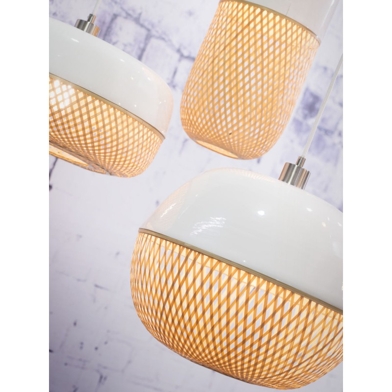 MEKONG oval bamboo suspension lamp (40 cm) (white, natural) - image 45386