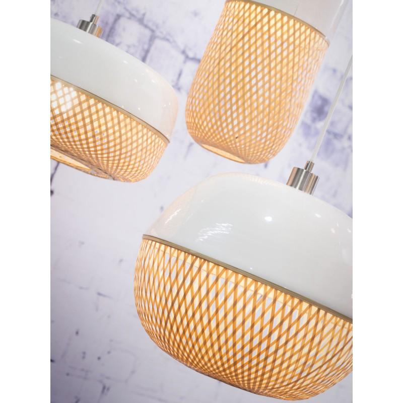 Lámpara de suspensión de bambú ovalada MEKONG (40 cm) (blanco, natural) - image 45386