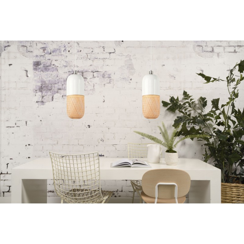 Lámpara de suspensión de bambú ovalada MEKONG (40 cm) (blanco, natural) - image 45392
