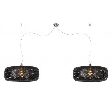 Lámpara de suspensión de bambú PALAWAN 2 pantallas (negro)