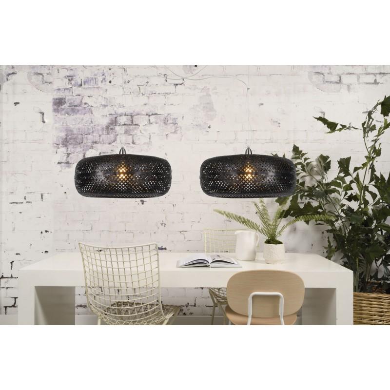 PALAWAN bamboo suspension lamp 2 lampshades (black) - image 45443