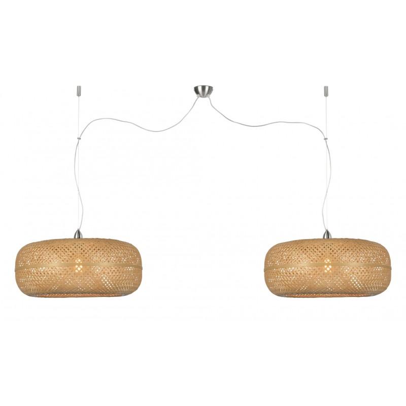 Lampada sospensione IN bambù PALAWAN 2 paralumi (naturale)