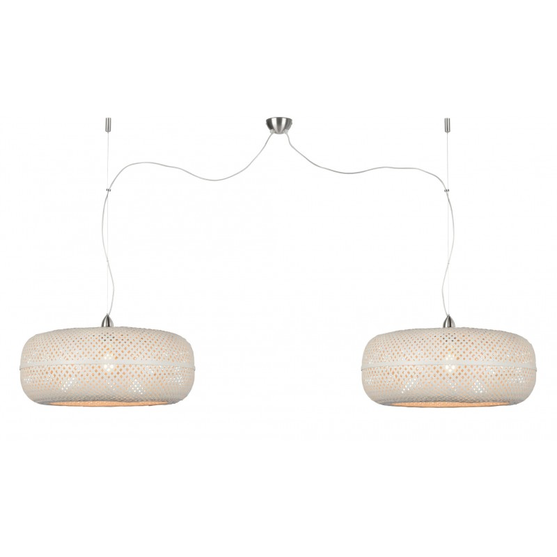 PALAWAN bamboo suspension lamp 2 lampshades (white) - image 45456