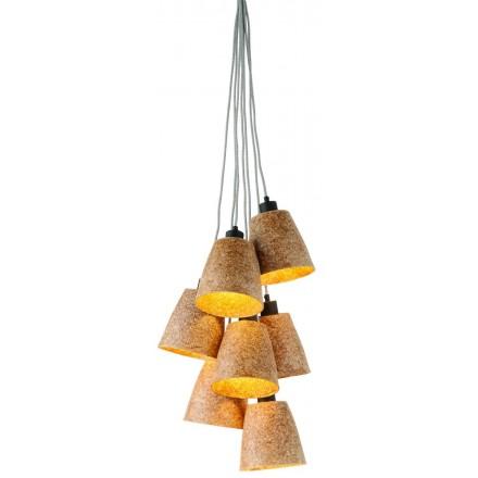 Lampada SUSPENSION in trucioli di legno SEQUOIA 7 paralumi (naturale)