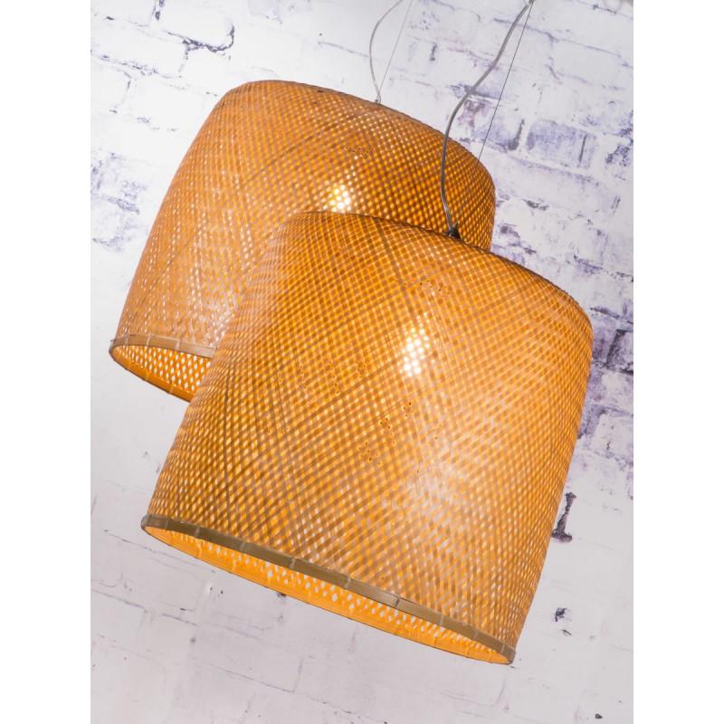 Bamboo sospensione lampada SERENGETI 2 paralumi (naturale) - image 45566