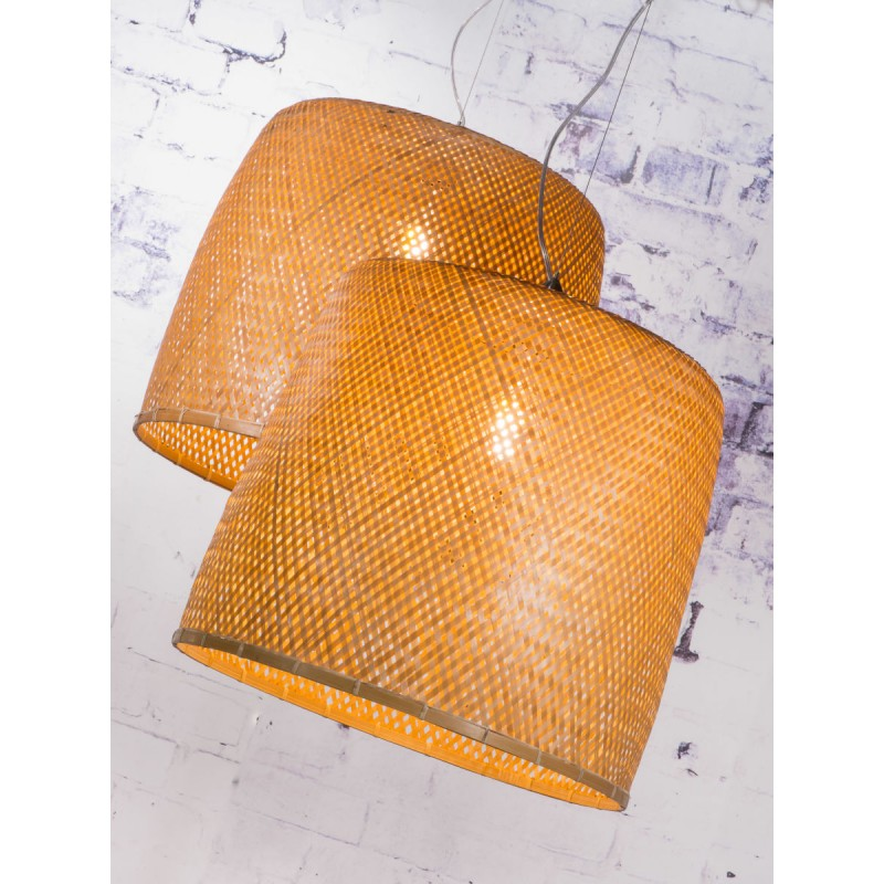 Lámpara de suspensión de bambú SERENGETI 2 pantallas (natural) - image 45566