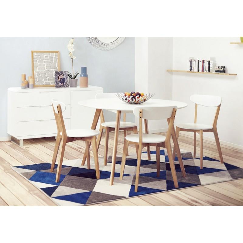 Table à manger style scandinave ronde MILLET en bois (Ø 120 cm) (blanc) - image 45578