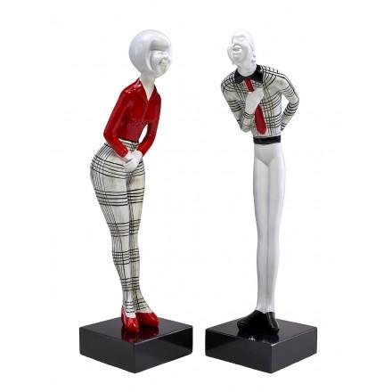Set de 2 statues sculptures décoratives design COUPLE en résine H48 cm (rouge, noir, blanc)