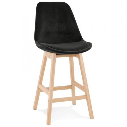 Almohadilla de barra de altura media Diseño escandinavo en pies de color natural CAMY MINI (negro)