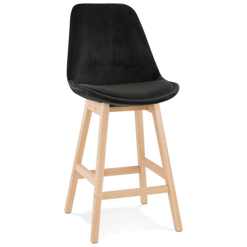 Mittelhohe Bar Pad skandinavisches Design in naturfarbenen Füßen CAMY MINI (schwarz)