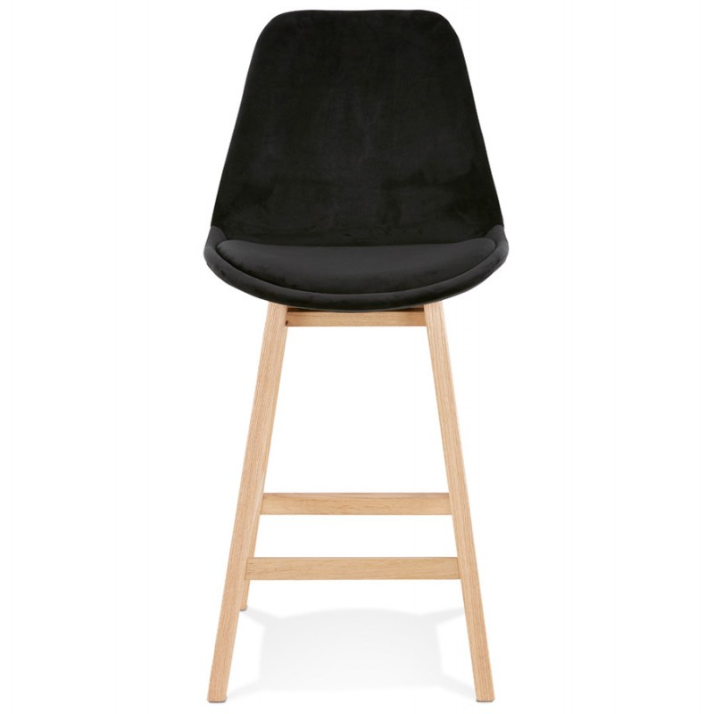 Mid-height bar pad Scandinavian design in natural-colored feet CAMY MINI (black) - image 45593