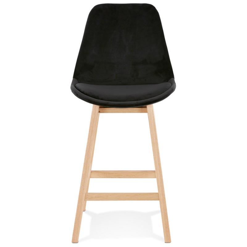 Tabouret de bar mi-hauteur design scandinave en velours pieds couleur naturelle CAMY MINI (noir) - image 45593