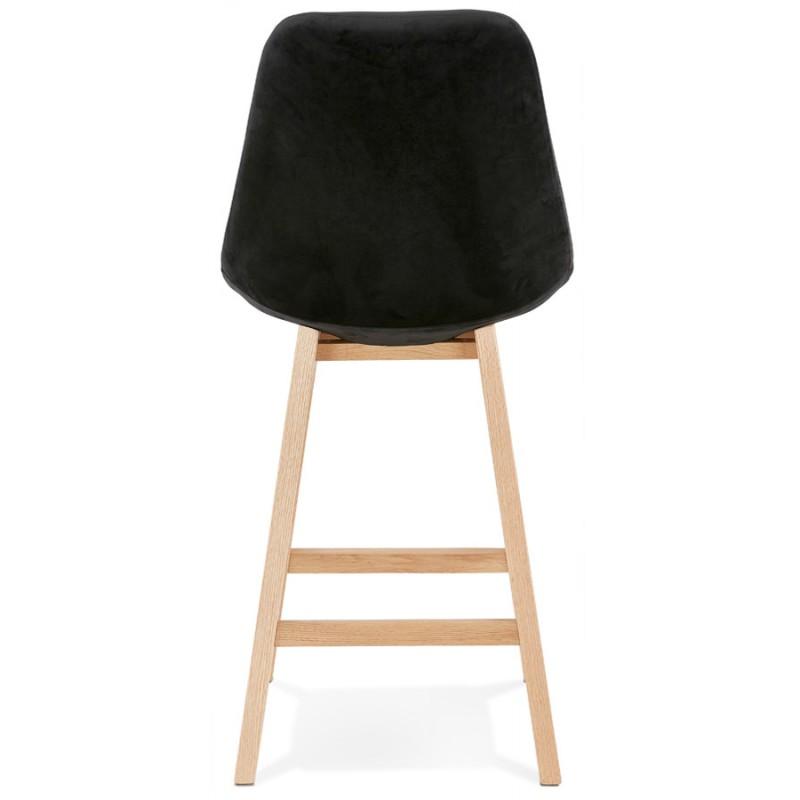 Tabouret de bar mi-hauteur design scandinave en velours pieds couleur naturelle CAMY MINI (noir) - image 45596