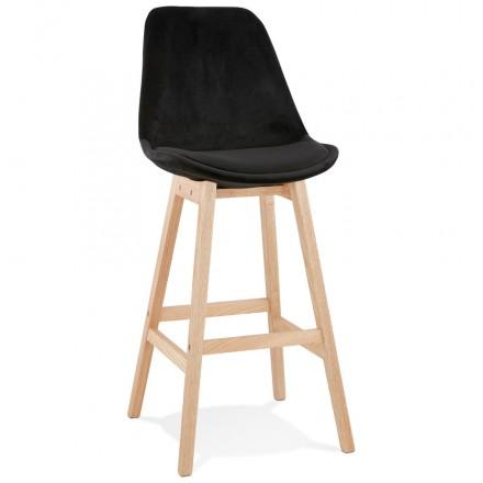 Tabouret de bar design scandinave en velours pieds couleur naturelle CAMY (noir)