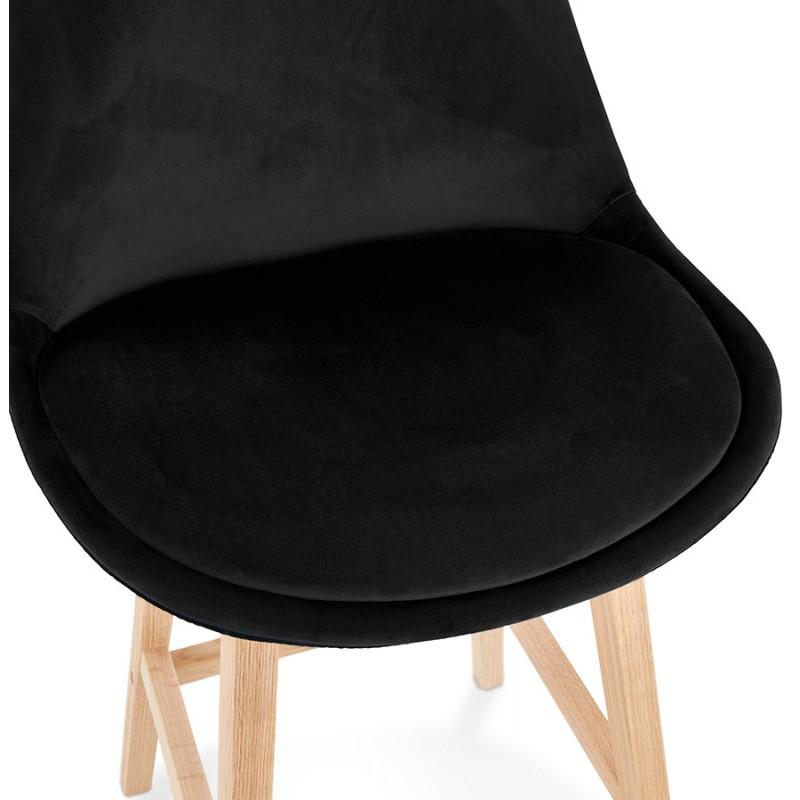 Tabouret de bar design scandinave en velours pieds couleur naturelle CAMY (noir) - image 45607