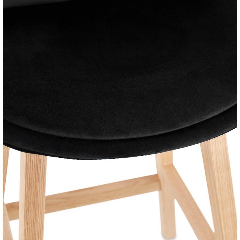 Tabouret de bar design scandinave en velours pieds couleur naturelle CAMY (noir) - image 45608