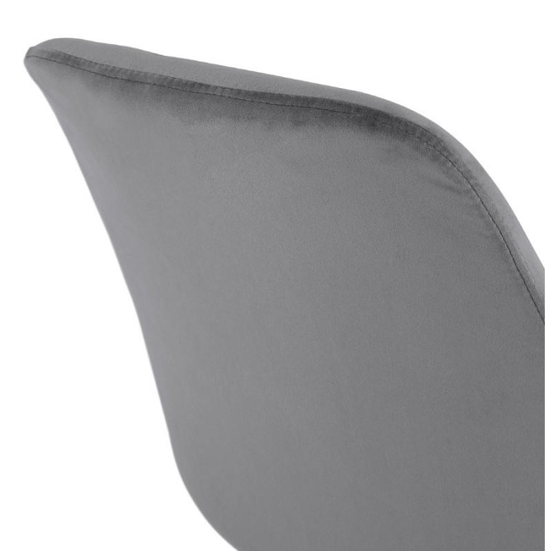 Tabouret de bar mi-hauteur design scandinave en velours pieds couleur naturelle CAMY MINI (gris) - image 45621
