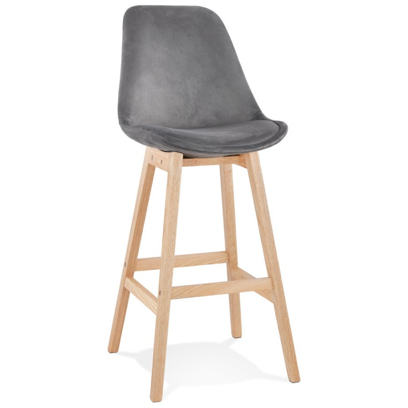 Scandinavian design bar stool in natural-colored feet CAMY (grey)