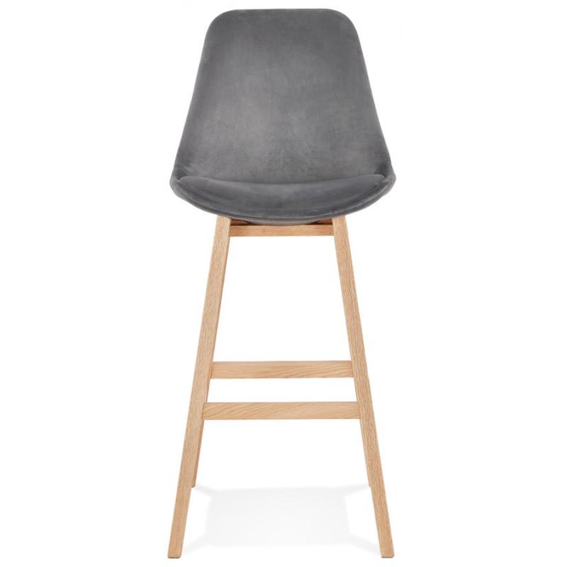 Tabouret de bar design scandinave en velours pieds couleur naturelle CAMY (gris) - image 45624