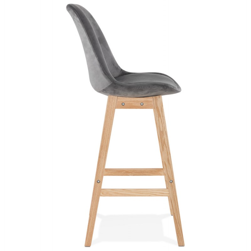 Tabouret de bar design scandinave en velours pieds couleur naturelle CAMY (gris) - image 45625