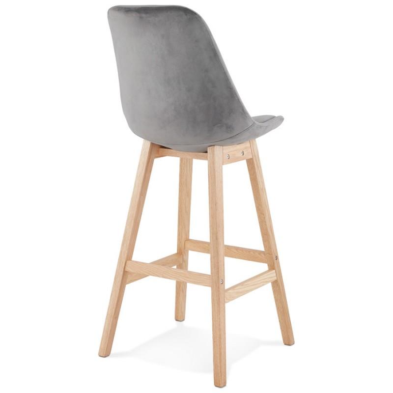 Taburete de barra de diseño escandinavo en pies de color natural CAMY (gris) - image 45626