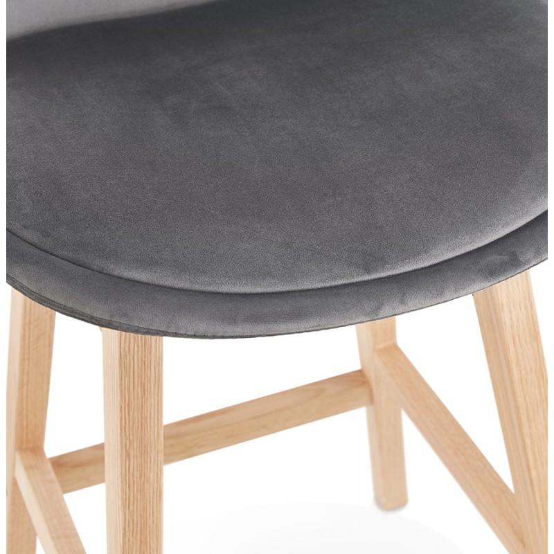 Tabouret de bar design scandinave en velours pieds couleur naturelle CAMY (gris) - image 45628