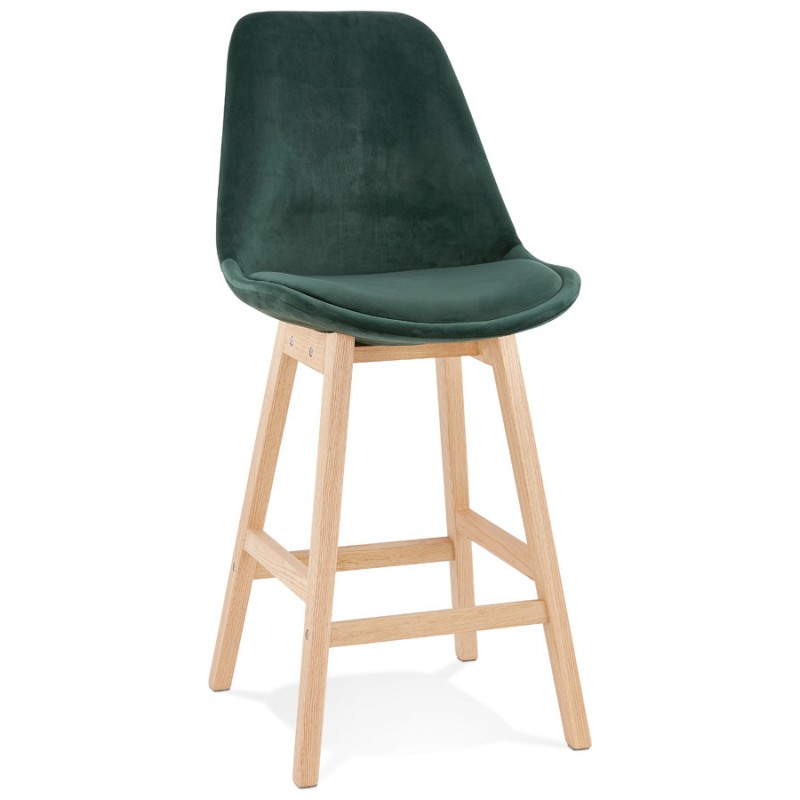 Mid-height bar pad Scandinavian design in natural-colored feet CAMY MINI (green) - image 45634